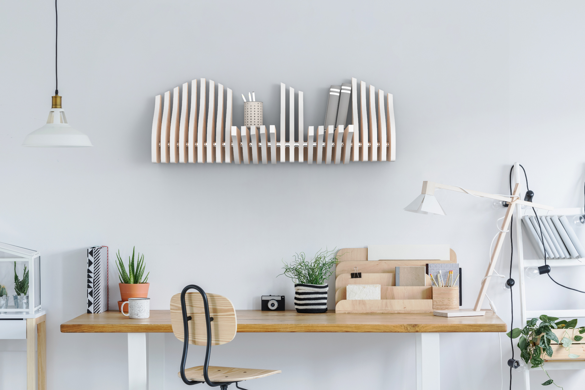 Köllen Bookshelf is a nordic furniture design created from the repetition of adaptable pieces in matter of size and shape of the objects on it.